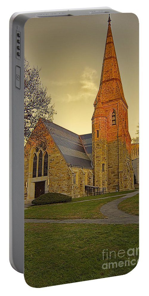 Lesley University Portable Battery Charger featuring the photograph Lesley University Church-cambridge Boston by Douglas Barnard
