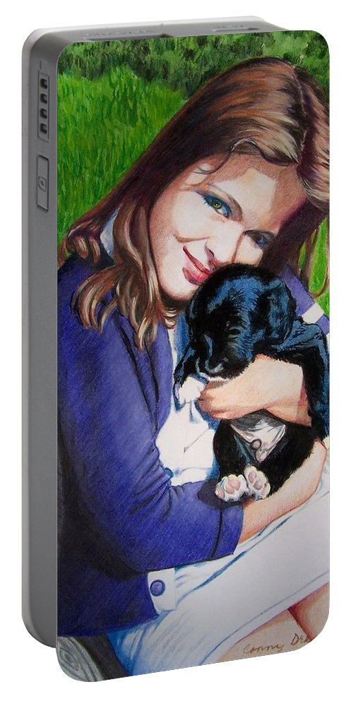 Girl Portable Battery Charger featuring the mixed media Leslie And Sergeant by Constance Drescher