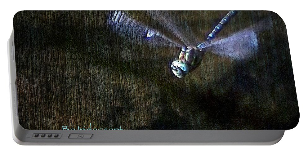 Dragonfly Portable Battery Charger featuring the digital art Lessons From Nature 1 - Be Iridescent by Belinda Greb