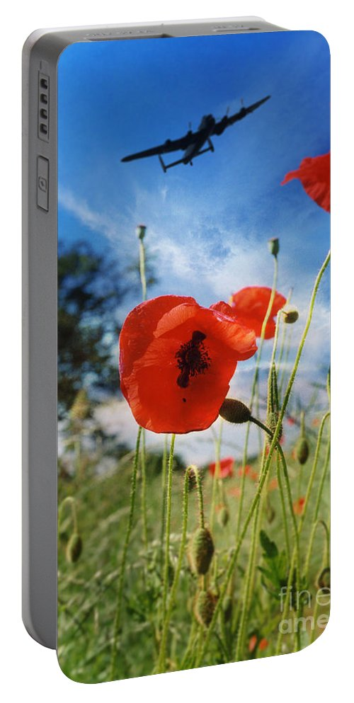 Lancaster Bomber Poppy Portable Battery Charger featuring the digital art Lest We Forget by J Biggadike
