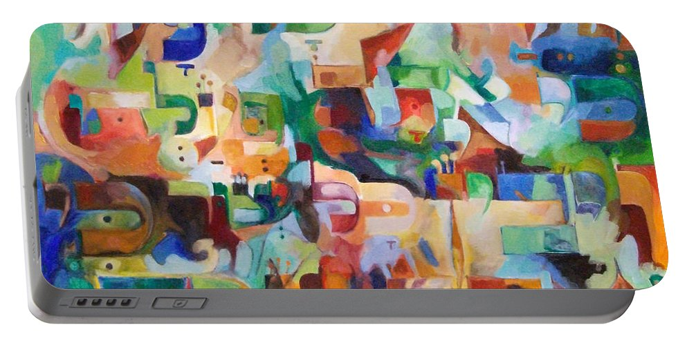 Portable Battery Charger featuring the painting Let Everything That Has Been Made Know That You Are Its Maker by David Baruch Wolk