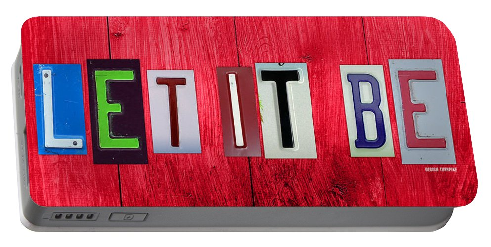 Let It Be License Plate Letter Vintage Phrase Word Artwork On Red Wood Portable Battery Charger featuring the mixed media Let It Be License Plate Letter Vintage Phrase Word Artwork On Red Wood by Design Turnpike
