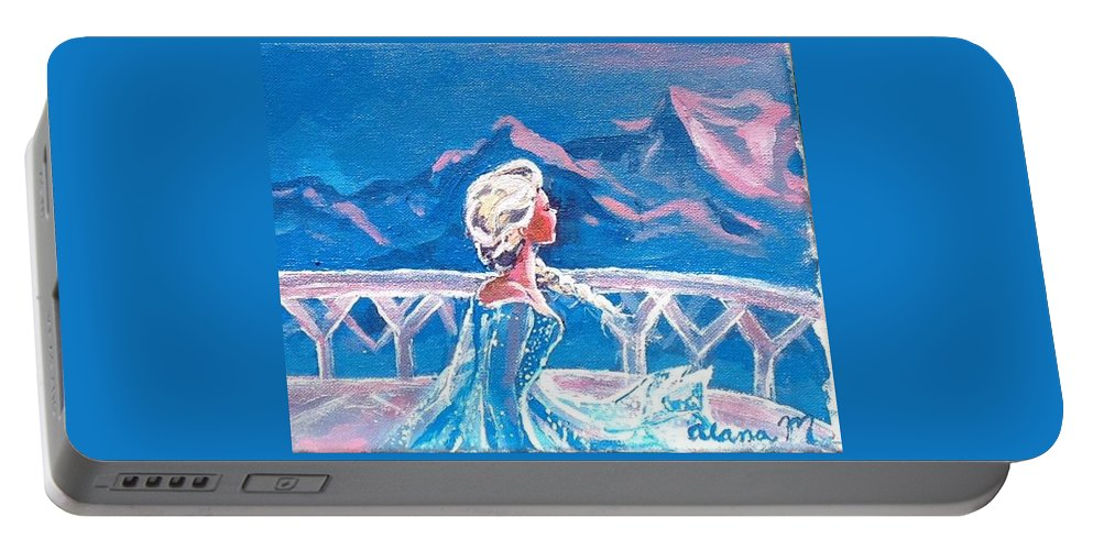 Frozen Portable Battery Charger featuring the painting Let It Go by Alana Meyers