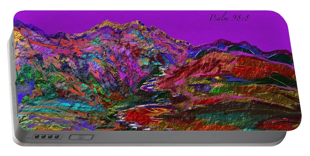 Mountains Portable Battery Charger featuring the painting Let The Mountains Sing by Marie Clark