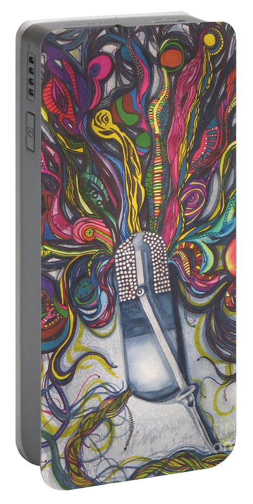 Fine Art Painting Portable Battery Charger featuring the painting Let Your Music Flow In Harmony by Chrisann Ellis