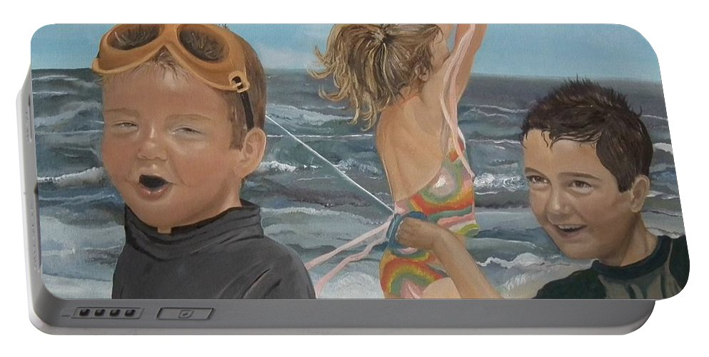 Portrait Portable Battery Charger featuring the painting Beach - Children Playing - Kite by Jan Dappen