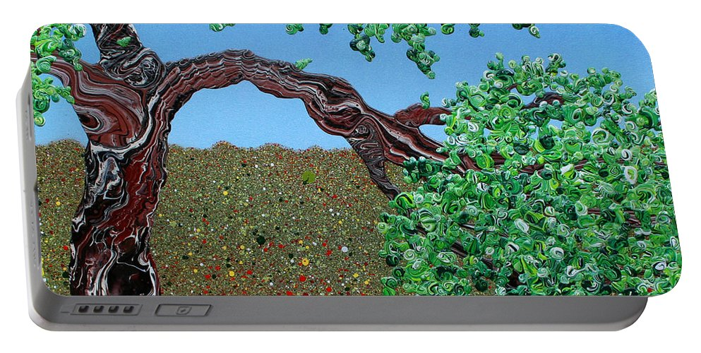 Decorator Art Portable Battery Charger featuring the painting Let's Stop Here by Ric Bascobert