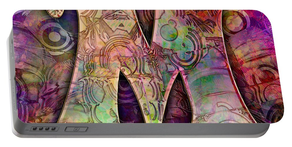 Alphabet Portable Battery Charger featuring the digital art Letter M by Barbara Berney