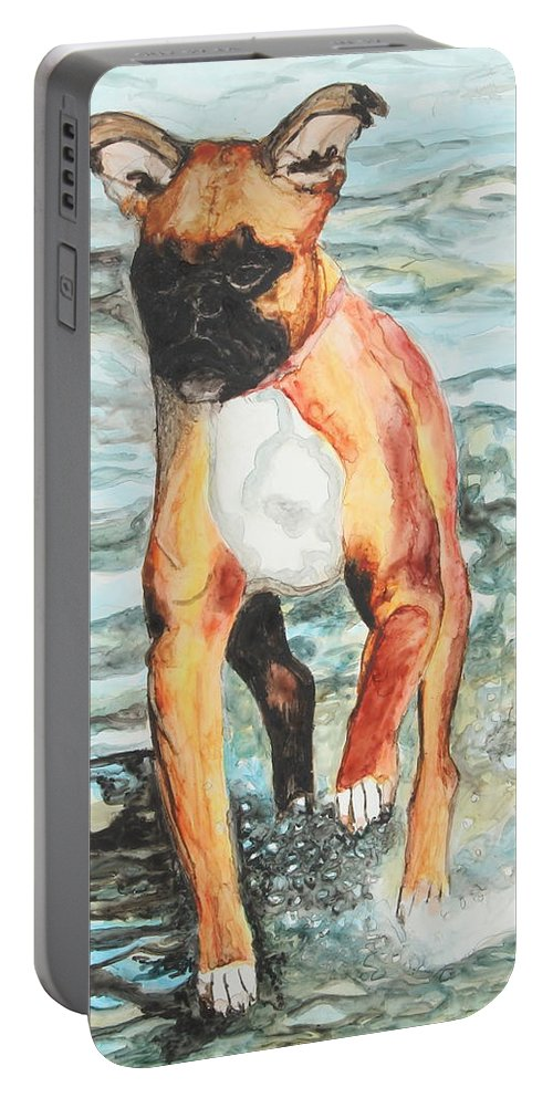 Animal Portable Battery Charger featuring the painting Leyla by Jeanne Fischer