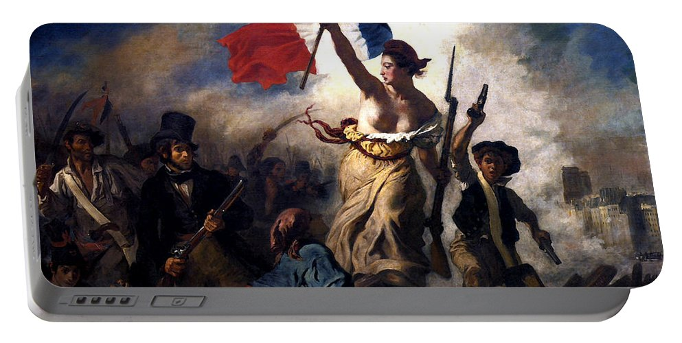 French Revolution Portable Battery Charger featuring the painting Liberty Leading The People During The French Revolution by War Is Hell Store