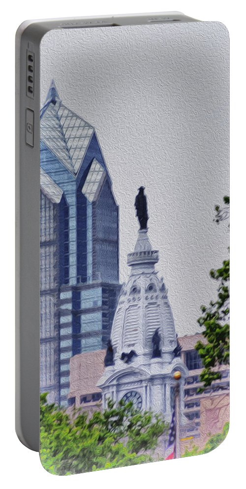 Liberty Portable Battery Charger featuring the photograph Liberty Place And City Hall by Bill Cannon