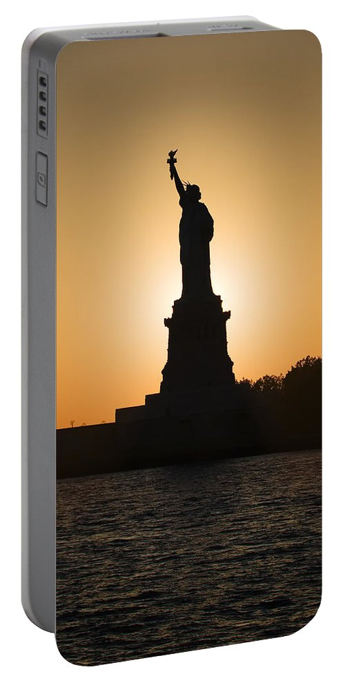 Statue Of Liberty Portable Battery Charger featuring the photograph Liberty Sunset by Dave Bowman