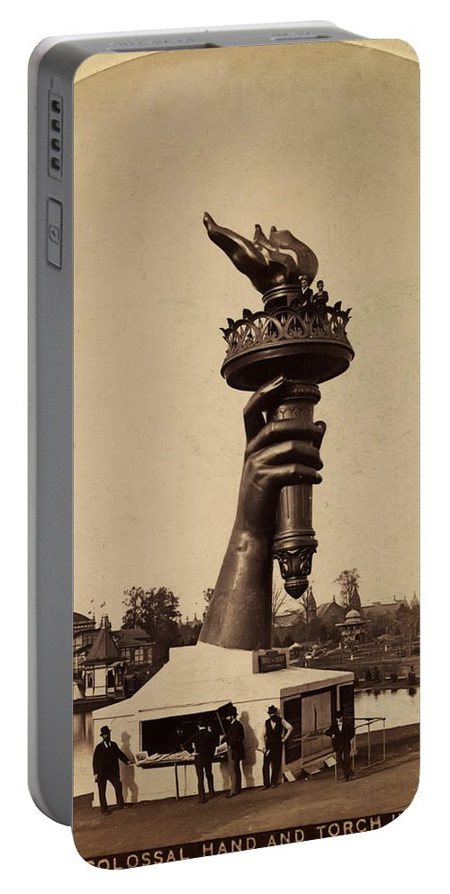 Liberty Torch At Philadelphia For Us Centennial 1876 Portable Battery Charger featuring the photograph Liberty Torch At Philadelphia For Us Centennial 1876 by Bill Cannon