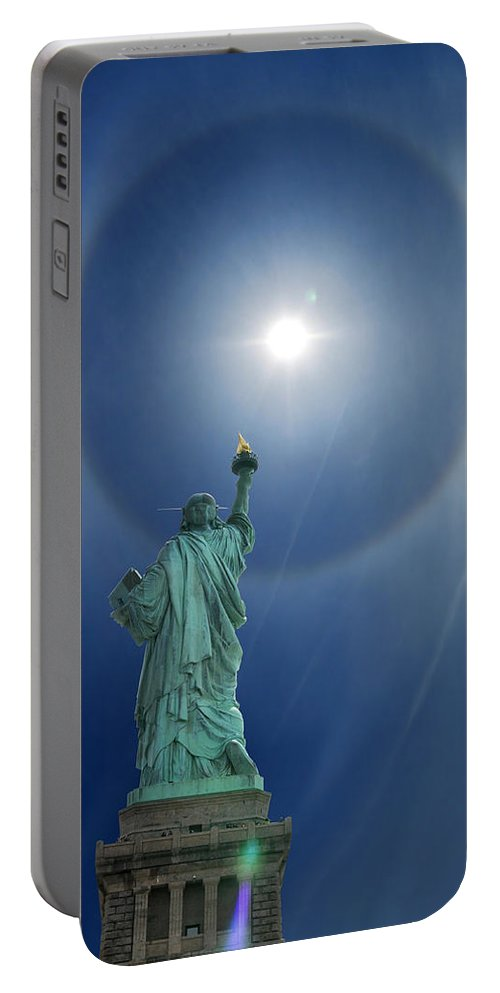 Illusion Portable Battery Charger featuring the photograph Liberty's Halo by Edwin Verin