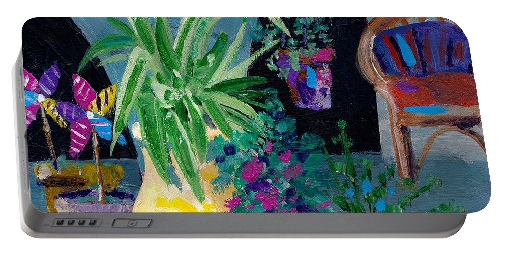 Pot Plants Portable Battery Charger featuring the painting Library Courtyard-rhodes Old Town by Adele Bower