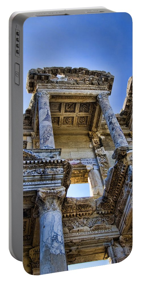 Ephesus Portable Battery Charger featuring the photograph Library Of Celsus by David Smith