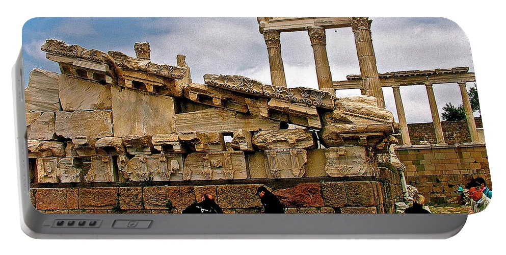 Library On The Pergamum Acropolis Portable Battery Charger featuring the photograph Library On The Pergamum Acropolis-turkey by Ruth Hager