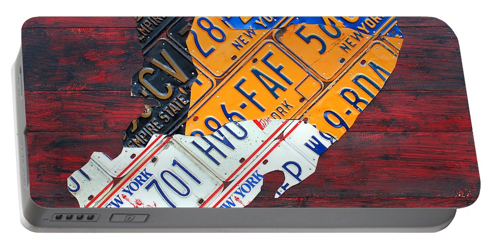 License Plate Map Of Staten Island New York Nyc Borough State Recycled Art Portable Battery Charger featuring the mixed media License Plate Map Of Staten Island New York Nyc by Design Turnpike