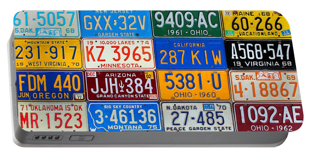 License Plate Map Portable Battery Charger featuring the mixed media License Plates Of The Usa - Our Colorful American History by Design Turnpike