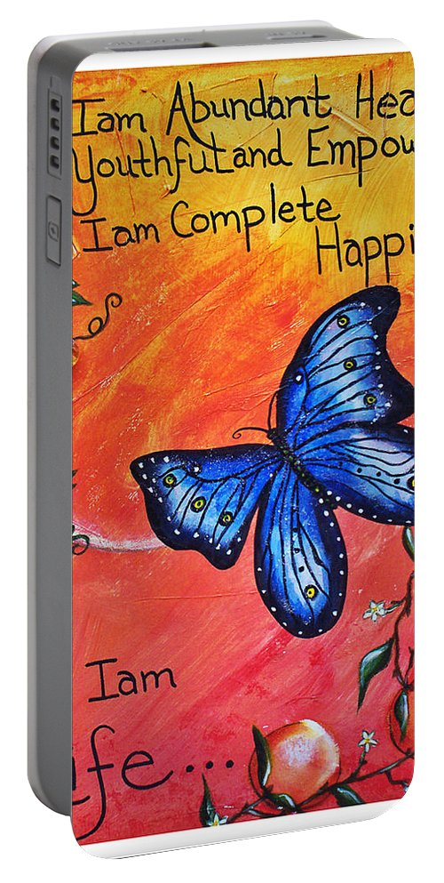 Life Portable Battery Charger featuring the painting Life - Healing Art by Absinthe Art By Michelle LeAnn Scott
