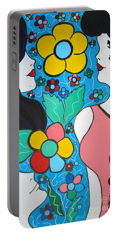 Pop-art Portable Battery Charger featuring the painting Life Is Beautiful by Silvana Abel