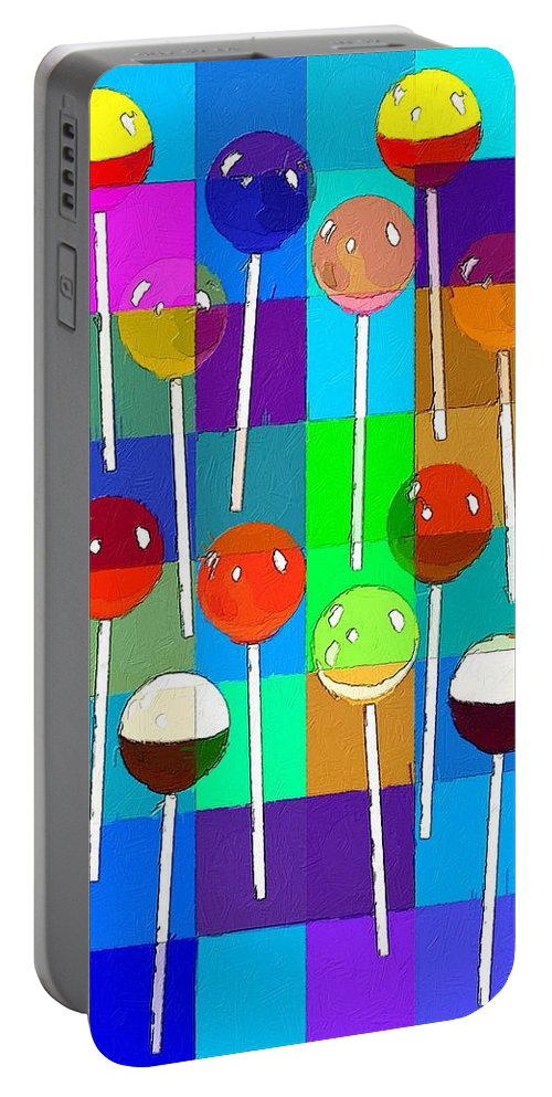 Lollipop Portable Battery Charger featuring the painting Life Is Full Of Lollipops by Florian Rodarte