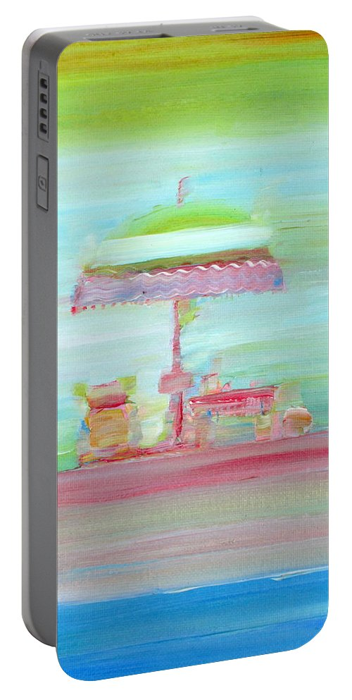 Beach Portable Battery Charger featuring the painting Life On The Beach by Fabrizio Cassetta