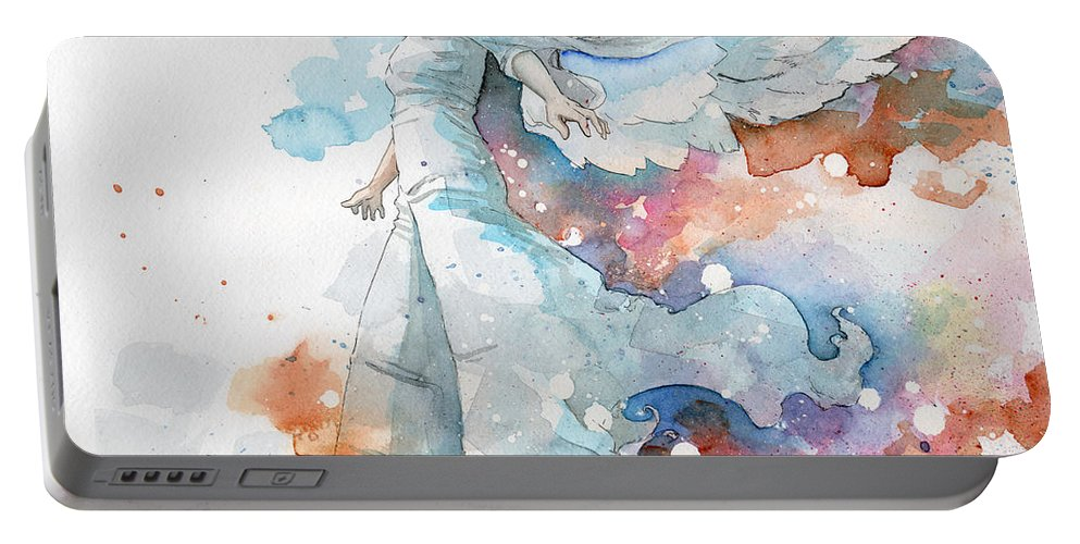 Angel Portable Battery Charger featuring the painting Life The Universe And Everything by Sean Parnell