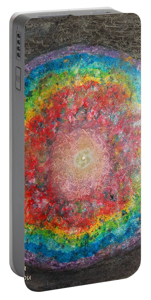 Augusta Stylianou Portable Battery Charger featuring the painting Light Analysis by Augusta Stylianou