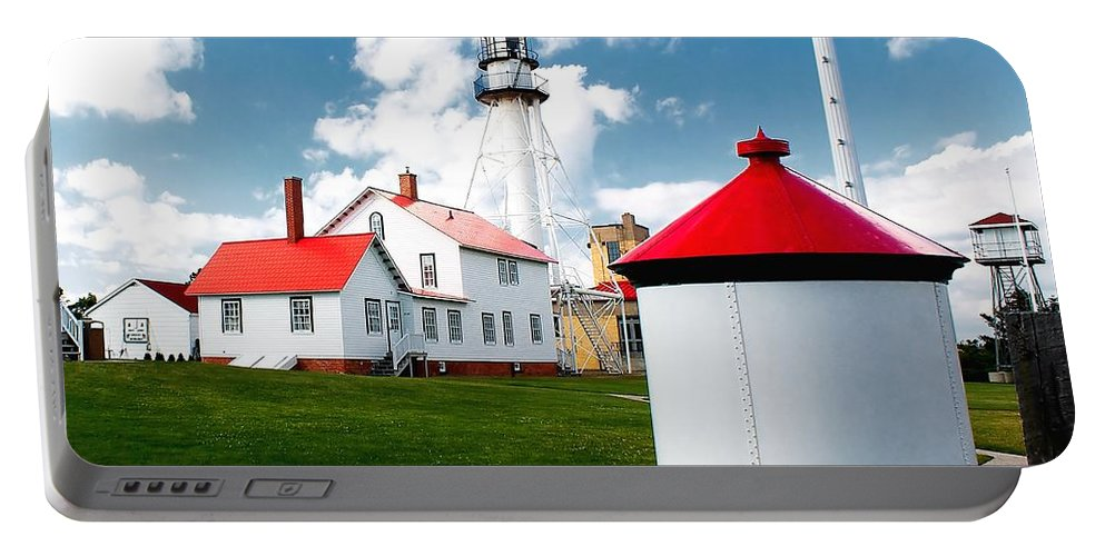 Architecture Portable Battery Charger featuring the photograph Light At Whitefish Point by Nick Zelinsky