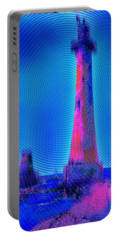 Lighthouse Portable Battery Charger featuring the painting Light House At Sunrise 2 by Tony Rubino