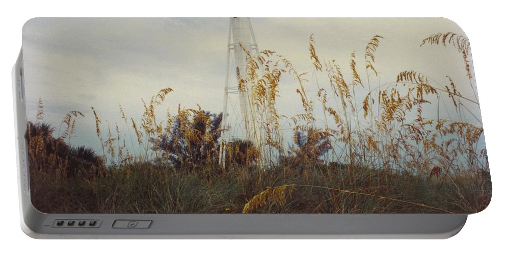 Wild Oats And Flowers With Light House In Background. Portable Battery Charger featuring the photograph Light House Landscape by Robert Floyd