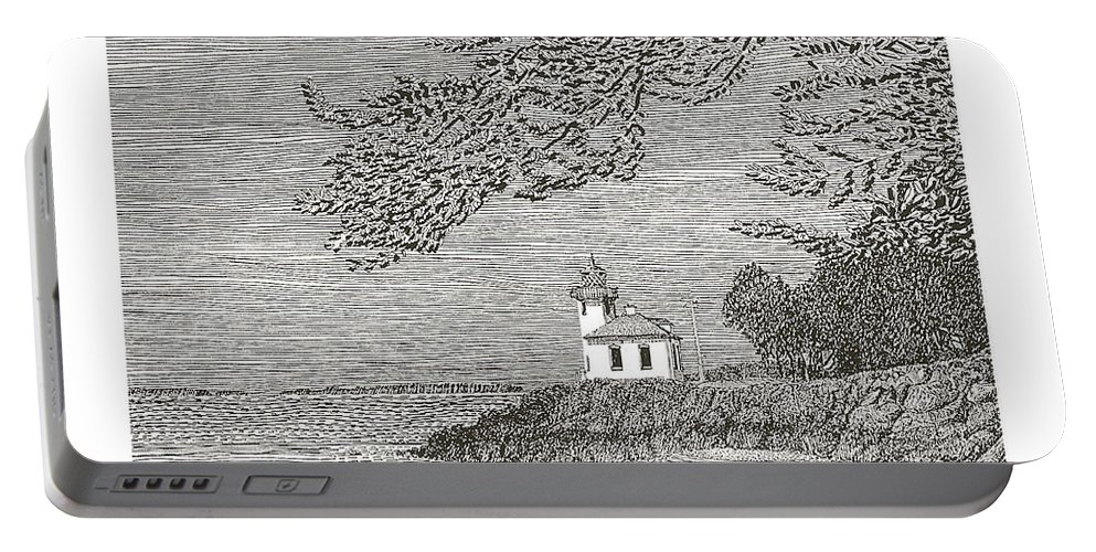 San Juan Islands Lime Point Lighthouse Portable Battery Charger featuring the drawing Light House On San Juan Island Lime Point Lighthouse by Jack Pumphrey