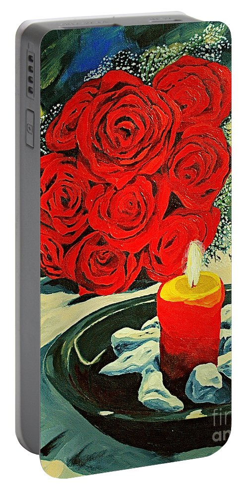 Roses Red Rose Candle Love Deep Red Rose Portable Battery Charger featuring the painting Light Of Love by Herschel Fall