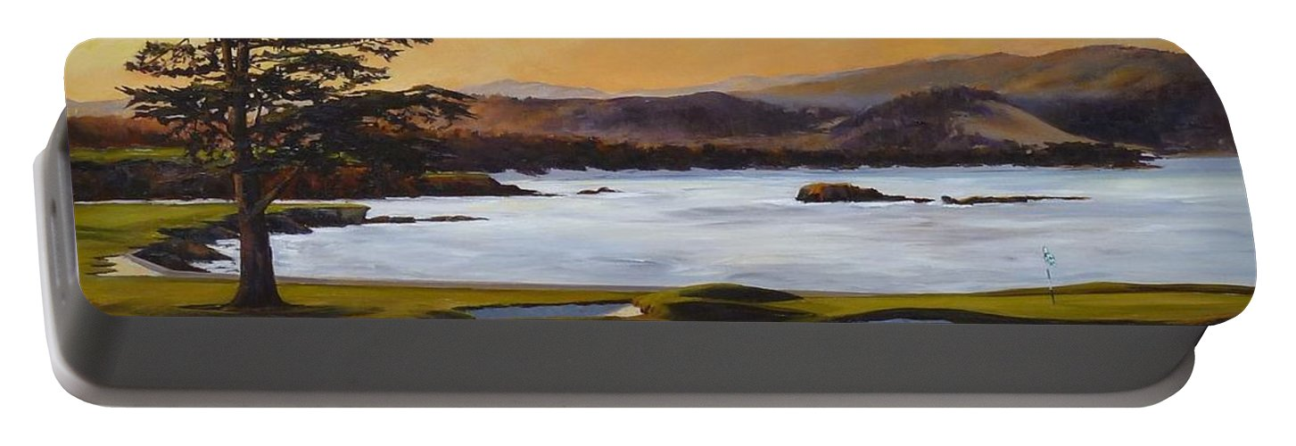 Famous 18th Hole At Pebble Beach At Sunrise Portable Battery Charger featuring the painting Light On The 18th by Shelley Cost