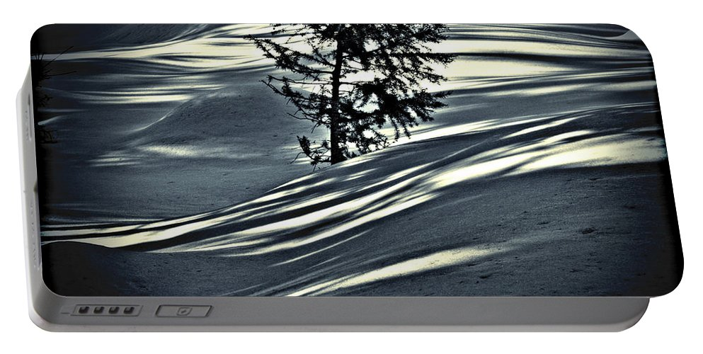 Sunlight Portable Battery Charger featuring the photograph Light On The Snow by Janie Johnson