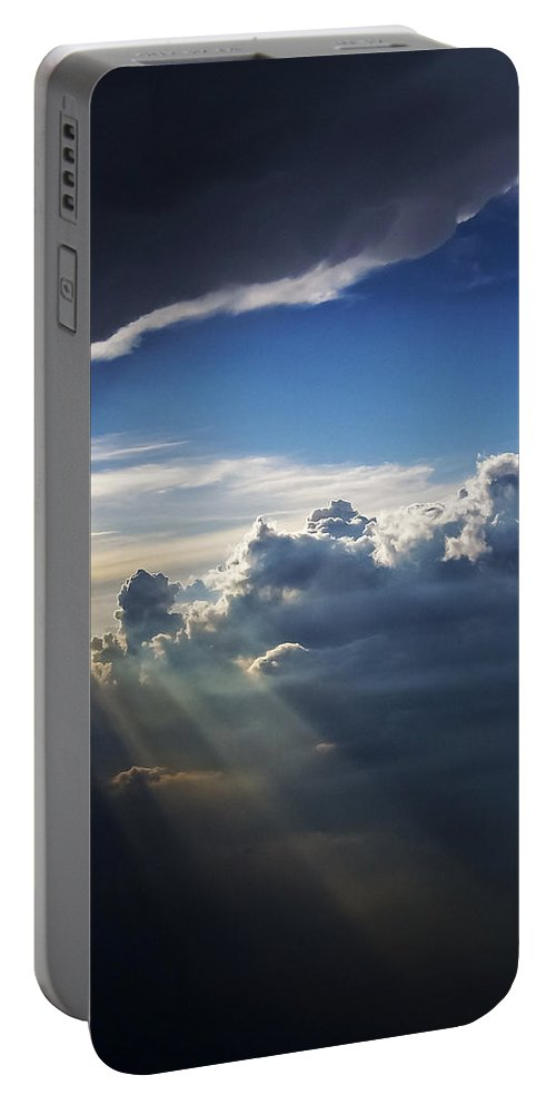 Light Shafts From Thunderstorm Portable Battery Charger featuring the photograph Light Shafts From Thunderstorm II by Greg Reed