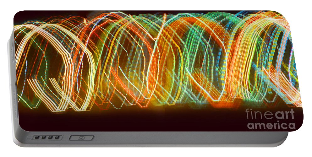 Abstract Portable Battery Charger featuring the digital art Light Show I by Debbie Portwood
