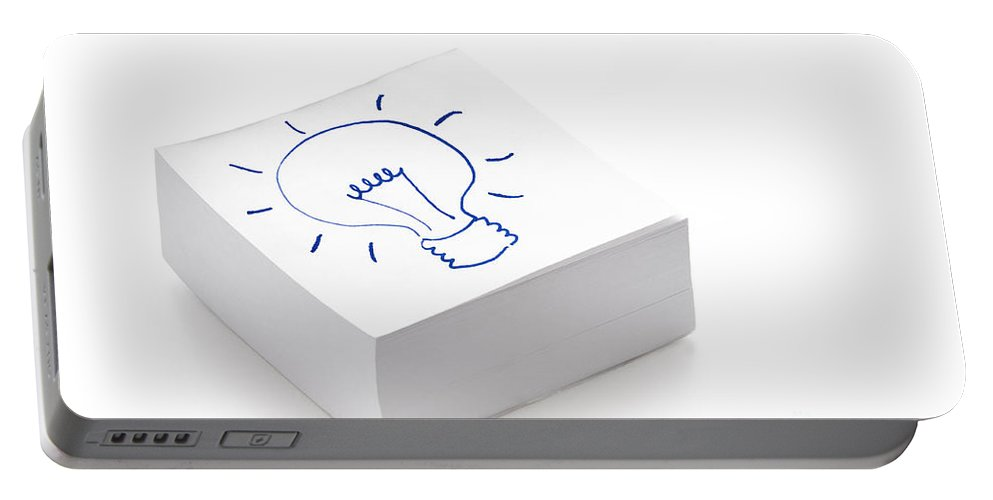 Idea Portable Battery Charger featuring the photograph Lightbulb Drawing by Lee Avison