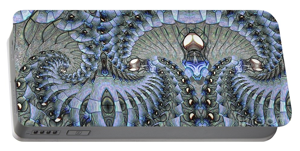 Abstract Portable Battery Charger featuring the digital art Lighted Cavern by Ron Bissett
