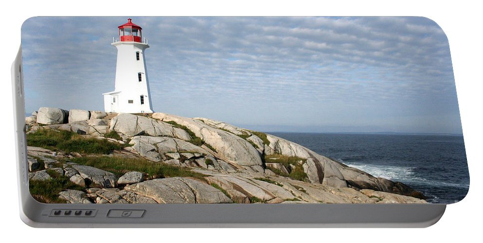 Lighthouse Portable Battery Charger featuring the photograph Lighthouse At Peggys Point Nova Scotia by Thomas Marchessault
