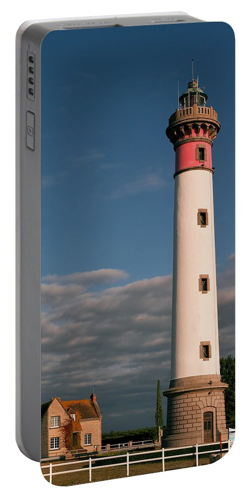 France Portable Battery Charger featuring the photograph Lighthouse At Ouistreham by Jean-Pierre Ducondi