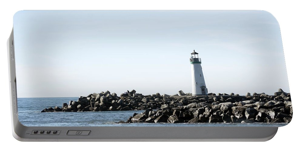 Barbara Snyder Portable Battery Charger featuring the digital art Lighthouse Breaker Santa Cruz California by Barbara Snyder