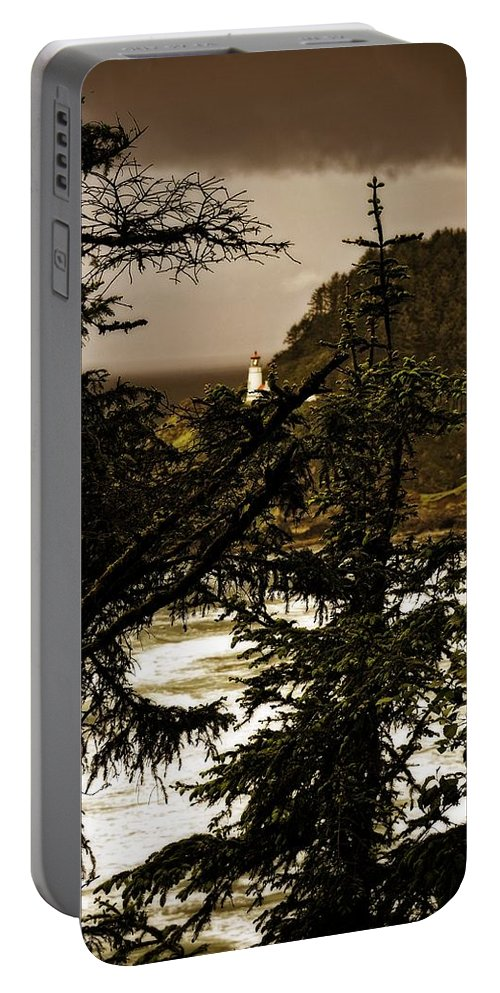 Heceta Portable Battery Charger featuring the photograph Lighthouse From The Distance by Image Takers Photography LLC - Laura Morgan