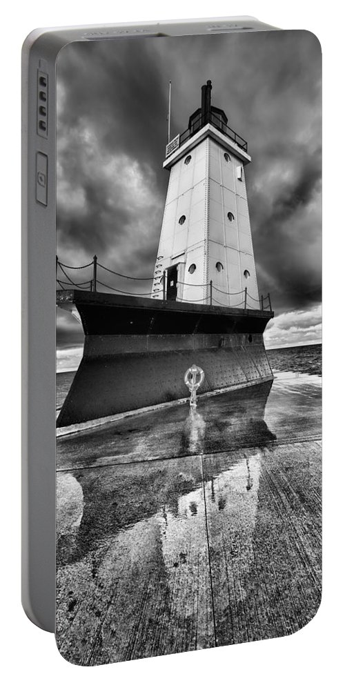 Clouds Portable Battery Charger featuring the photograph Lighthouse Reflection Black And White by Sebastian Musial