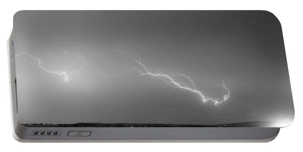 Lightning Portable Battery Charger featuring the photograph Lightning Bolts Coming In For A Landing Panorama Bw by James BO Insogna