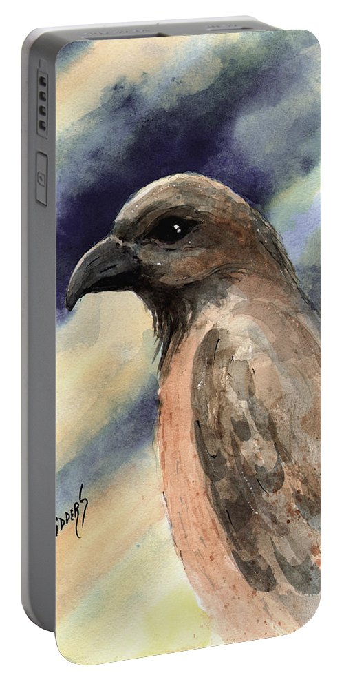 Bird Portable Battery Charger featuring the painting Lightning by Sam Sidders