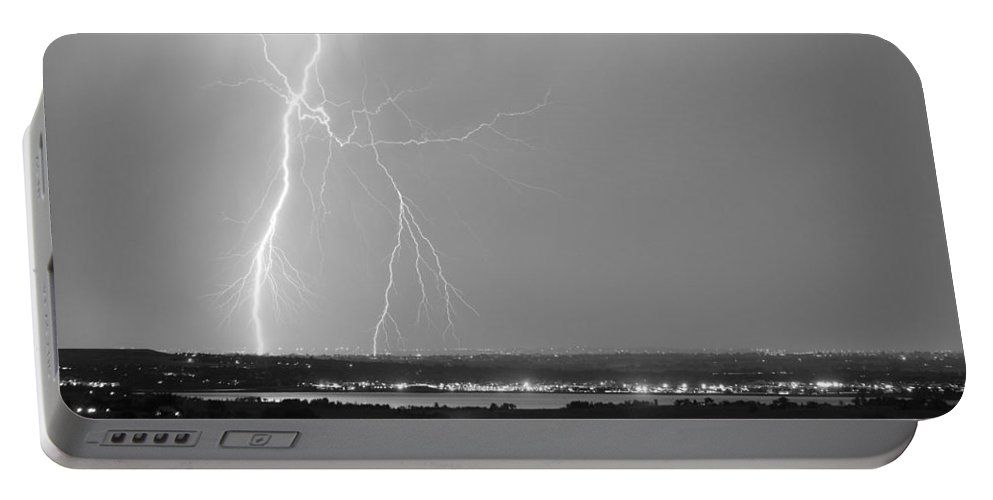 Lightning Portable Battery Charger featuring the photograph Lightning Strike Boulder Reservoir And Coot Lake Bw by James BO Insogna