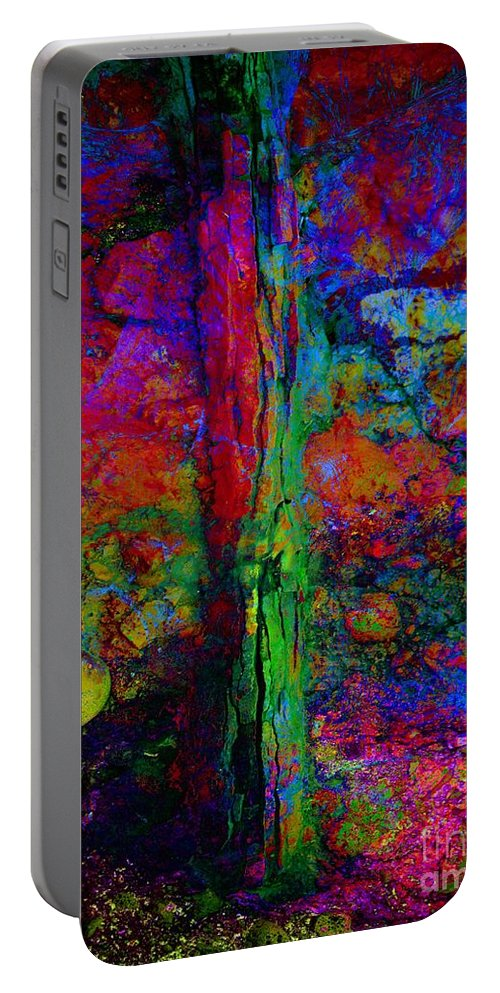 Absztract Portable Battery Charger featuring the digital art Lightning Strucked Tree by Klara Acel