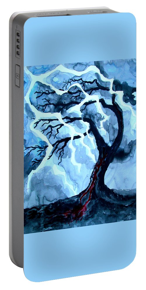 Tree Portable Battery Charger featuring the painting Lightning Tree by Linda Williams